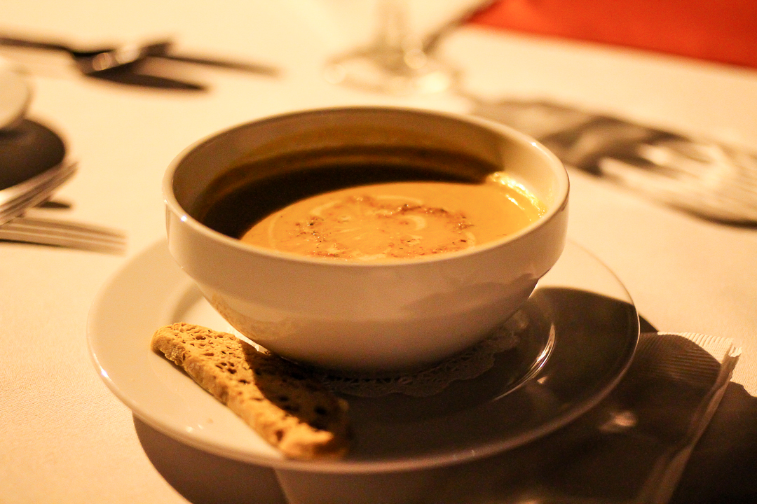 Chef's Soup of the Day - Tomato Soup with Cream of Smoked Herring.