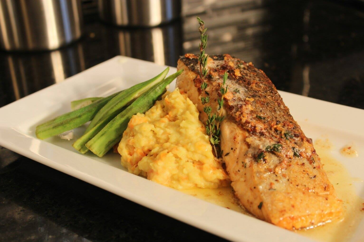 Pan-seared Salmon With Garlic and Thyme Brown Butter Sauce