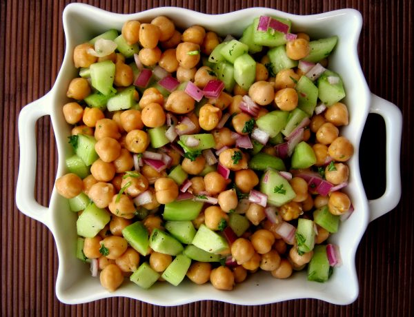 A dish of chickpea salad.