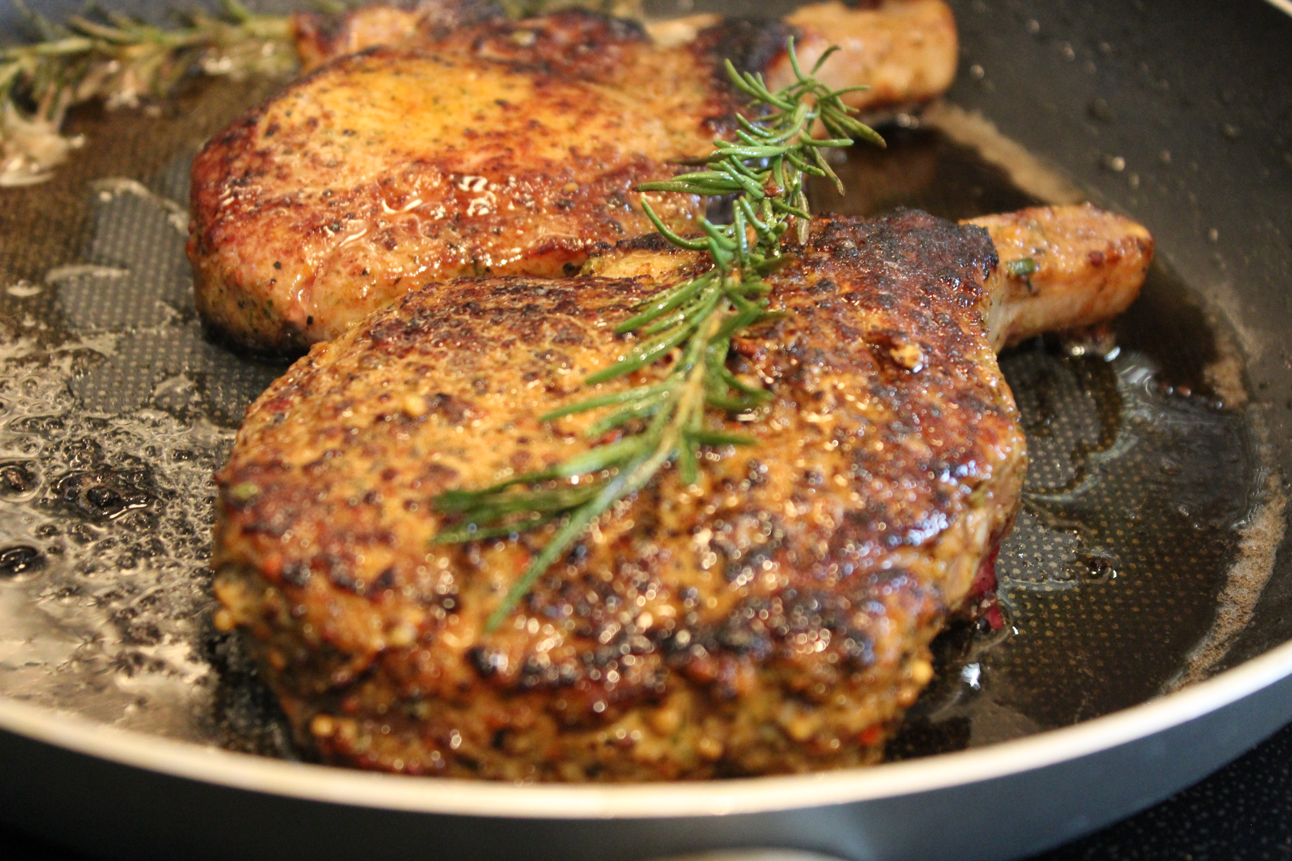 Caribbean Spice-rub Pork Chops  with Roasted Red Pepper Sauce