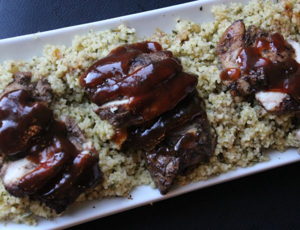 Oven Jerk Chicken Thigh with Lemon Spinach Couscous