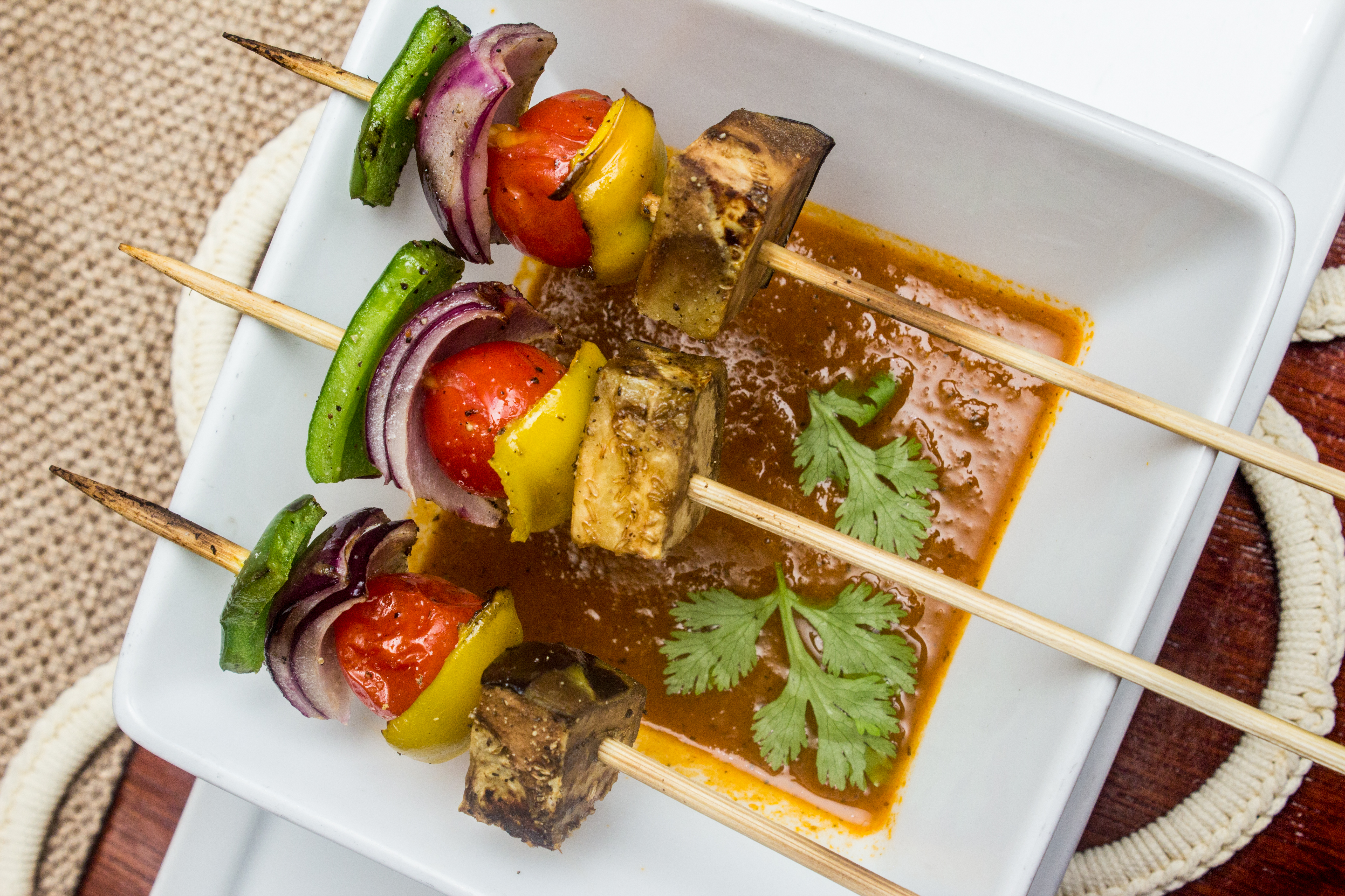 Grilled veggies skewer.