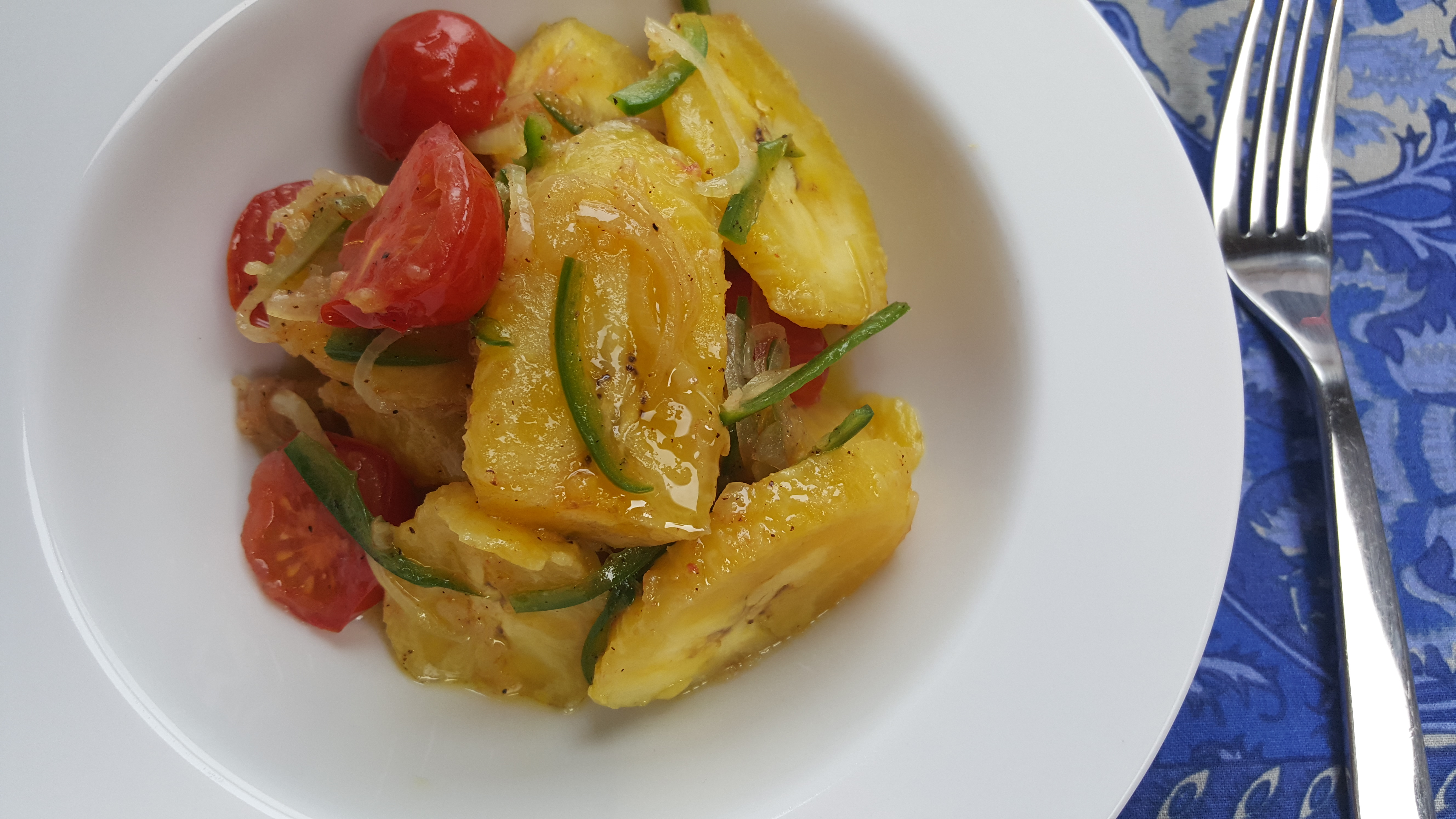 Plantains with Sautéed Onions, Tomatoes and Jalapeños