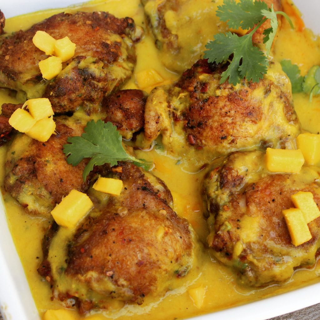 Mango Coconut Baked Chicken with a Hint of Curry