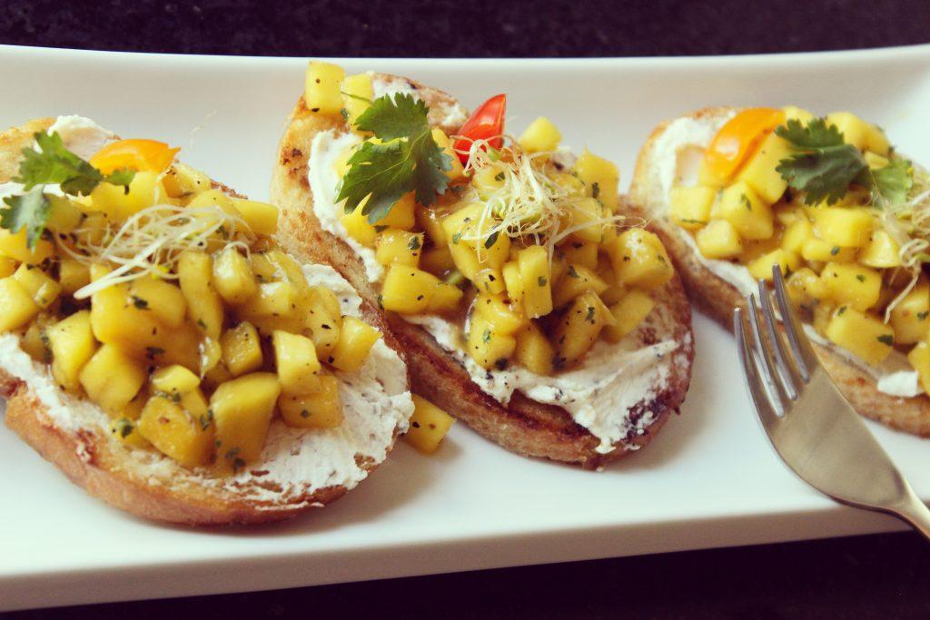 Mango & Peppercorn Goat Cheese Bruschetta