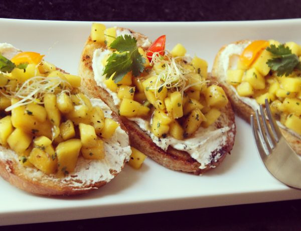 Mango & Peppercorn Goat Cheese Bruschetta