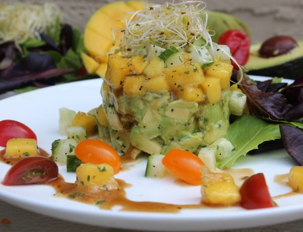 Mango, Avocado & Cucumber Salad with Scotch Bonnet, Balsamic Herb Vinaigrette