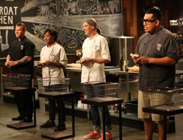 Chef Natasha Forde on set of Cutthroat Kitchen.