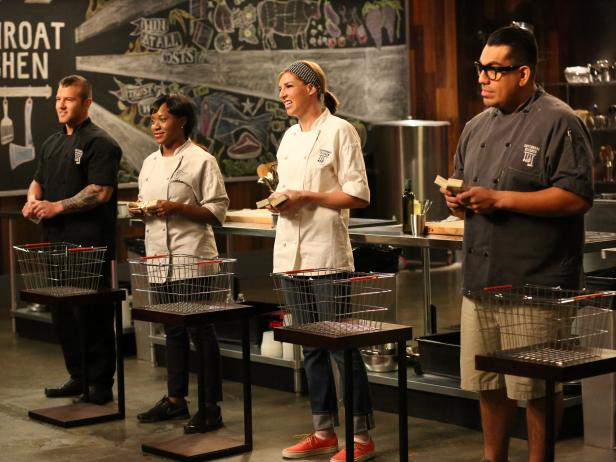 Chef Natasha Forde on set of Cutthroat Kitchen.