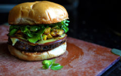 Garden Burger with Plantain Salsa