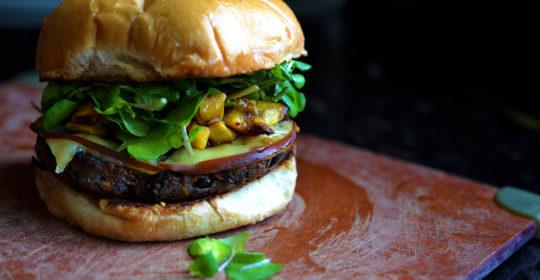 Garden Burger with Plantain Salsa