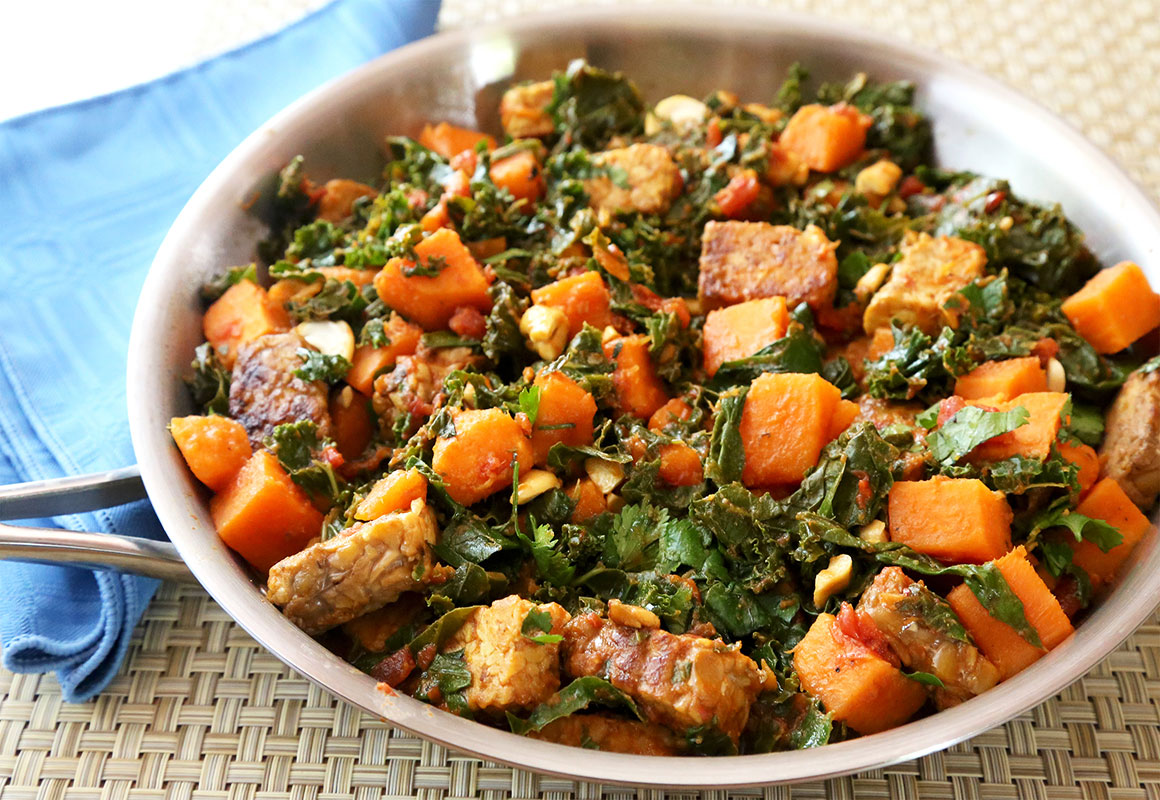 Tempeh, Kale, and Sweet Potato Skillet